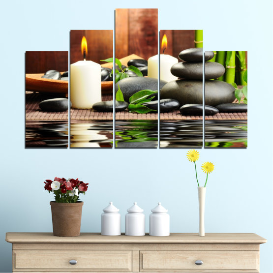 Canvas prints & wall decorative panels - 5 pieces №0311 » Brown, Black, Gray, Dark grey » Feng shui, Water, Stones, Zen, Bamboo, Candle, Manga Form #5