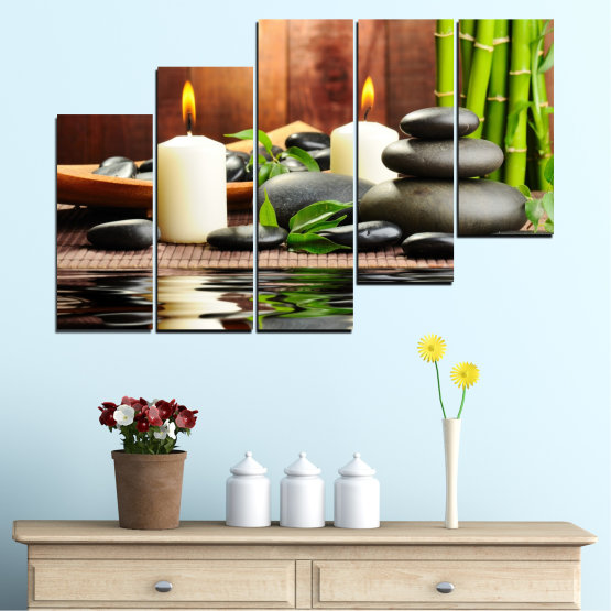 Canvas prints & wall decorative panels - 5 pieces №0311 » Brown, Black, Gray, Dark grey » Feng shui, Water, Stones, Zen, Bamboo, Candle, Manga Form #8