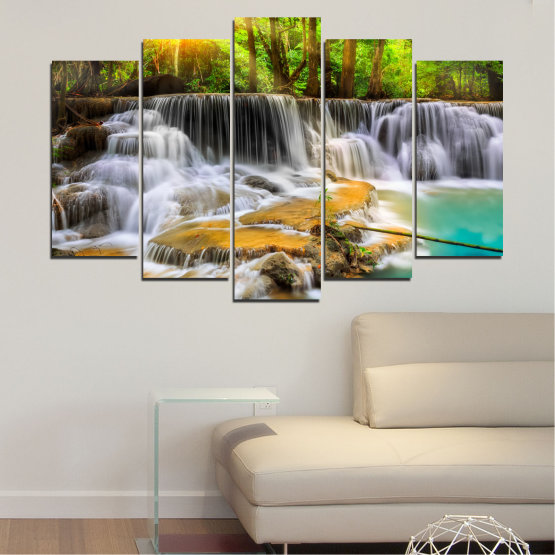 Canvas prints & wall decorative panels - 5 pieces №0312 » Brown, Black, Gray, Dark grey » Landscape, Nature, Waterfall, Water, Forest, Sun, Freshness, Rocks Form #1