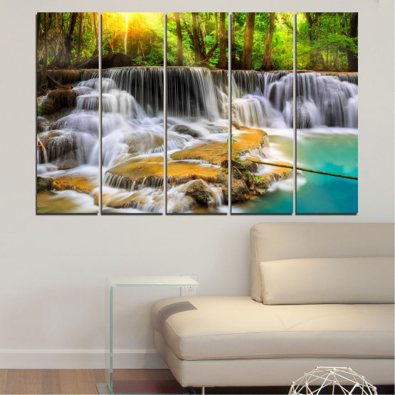 Canvas prints & wall decorative panels - 5 pieces №0312 » Brown, Black, Gray, Dark grey » Landscape, Nature, Waterfall, Water, Forest, Sun, Freshness, Rocks Form #2