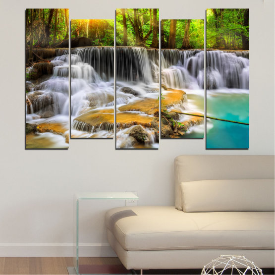 Canvas prints & wall decorative panels - 5 pieces №0312 » Brown, Black, Gray, Dark grey » Water, Landscape, Nature, Sun, Waterfall, Forest, Freshness, Rocks Form #3