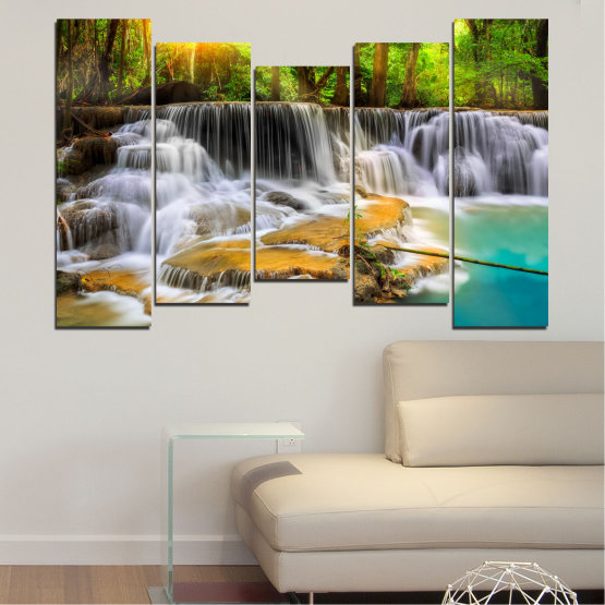 Canvas prints & wall decorative panels - 5 pieces №0312 » Brown, Black, Gray, Dark grey » Water, Landscape, Nature, Sun, Waterfall, Forest, Freshness, Rocks Form #4