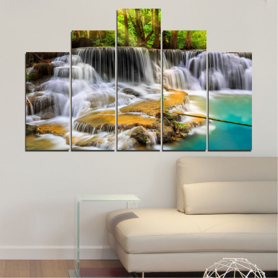 Canvas prints & wall decorative panels - 5 pieces №0312 » Brown, Black, Gray, Dark grey » Landscape, Nature, Waterfall, Water, Forest, Sun, Freshness, Rocks Form #5