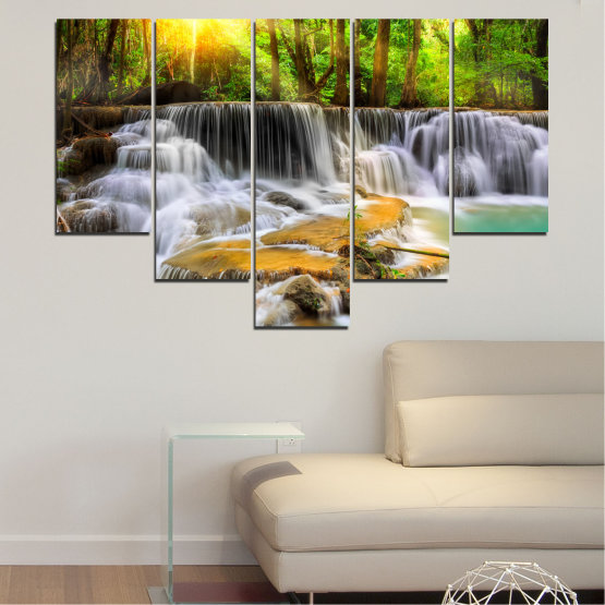 Canvas prints & wall decorative panels - 5 pieces №0312 » Brown, Black, Gray, Dark grey » Water, Landscape, Nature, Sun, Waterfall, Forest, Freshness, Rocks Form #6