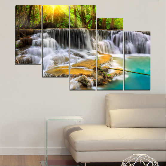 Canvas prints & wall decorative panels - 5 pieces №0312 » Brown, Black, Gray, Dark grey » Water, Landscape, Nature, Sun, Waterfall, Forest, Freshness, Rocks Form #7