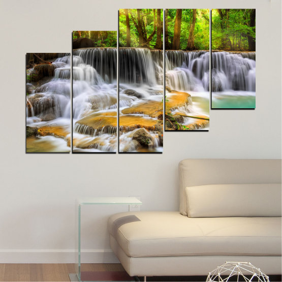 Canvas prints & wall decorative panels - 5 pieces №0312 » Brown, Black, Gray, Dark grey » Landscape, Nature, Waterfall, Water, Forest, Sun, Freshness, Rocks Form #8
