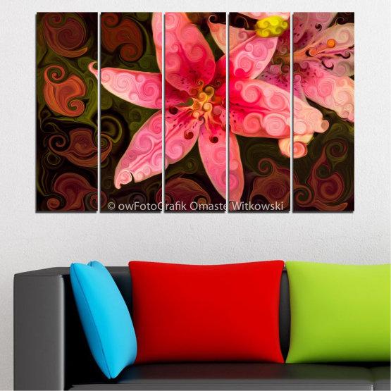 Декоративни панели и картини от канава - от 5 части №0313 » Червен, Розов, Кафяв, Черен » Природа, Цветя, Колаж Form #2