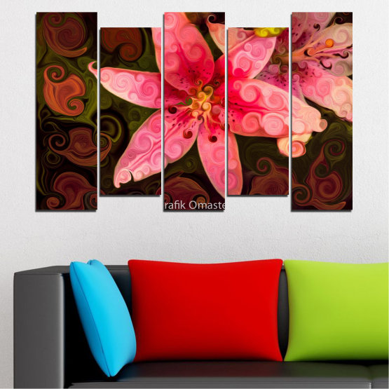 Декоративни панели и картини от канава - от 5 части №0313 » Червен, Розов, Кафяв, Черен » Природа, Цветя, Колаж Form #3