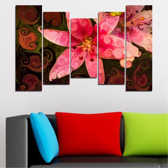 Декоративни панели и картини от канава - от 5 части №0313 » Червен, Розов, Кафяв, Черен » Природа, Цветя, Колаж Form #4