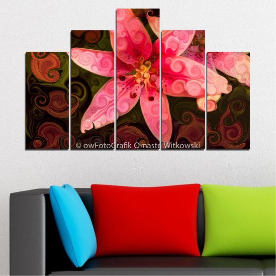 Декоративни панели и картини от канава - от 5 части №0313 » Червен, Розов, Кафяв, Черен » Природа, Цветя, Колаж Form #5