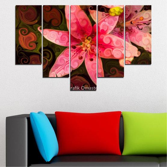 Декоративни панели и картини от канава - от 5 части №0313 » Червен, Розов, Кафяв, Черен » Природа, Цветя, Колаж Form #6