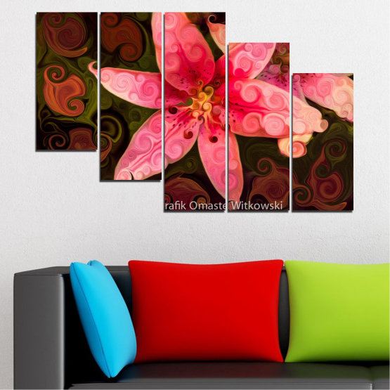 Декоративни панели и картини от канава - от 5 части №0313 » Червен, Розов, Кафяв, Черен » Природа, Цветя, Колаж Form #7