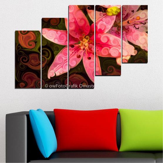 Декоративни панели и картини от канава - от 5 части №0313 » Червен, Розов, Кафяв, Черен » Природа, Цветя, Колаж Form #8