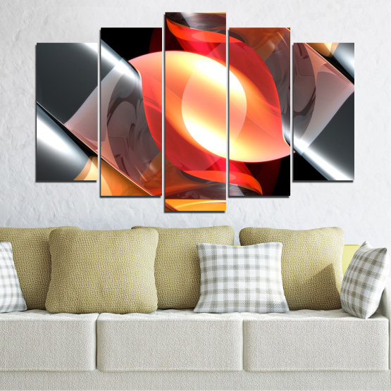 Canvas prints & wall decorative panels - 5 pieces №0314 » Red, Yellow, Black, Gray, Dark grey » Abstraction, Colorful, Shine Form #1