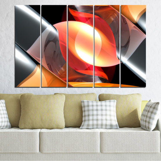 Canvas prints & wall decorative panels - 5 pieces №0314 » Red, Yellow, Black, Gray, Dark grey » Abstraction, Colorful, Shine Form #2