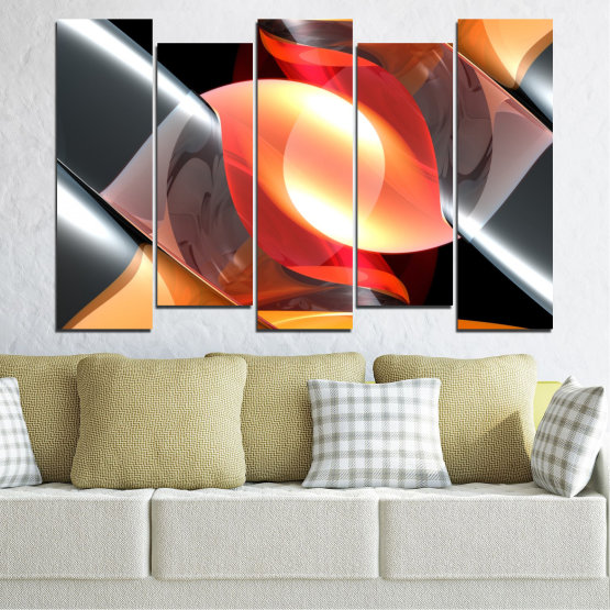 Canvas prints & wall decorative panels - 5 pieces №0314 » Red, Yellow, Black, Gray, Dark grey » Abstraction, Colorful, Shine Form #3