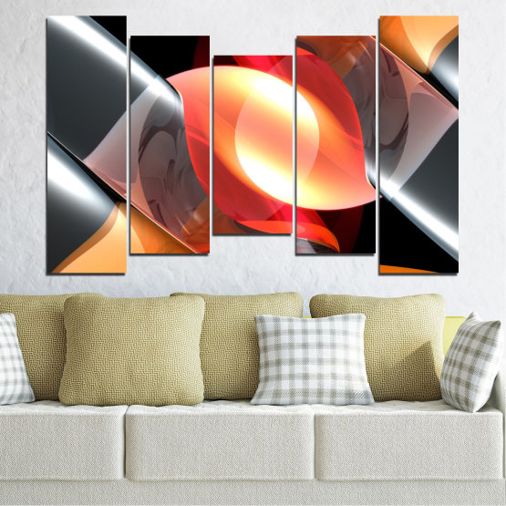 Canvas prints & wall decorative panels - 5 pieces №0314 » Red, Yellow, Black, Gray, Dark grey » Abstraction, Colorful, Shine Form #4