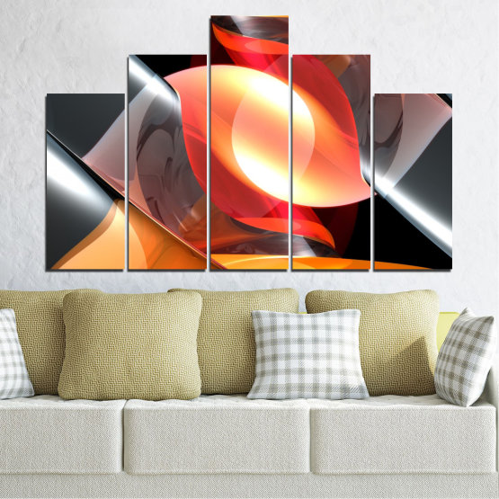Canvas prints & wall decorative panels - 5 pieces №0314 » Red, Yellow, Black, Gray, Dark grey » Abstraction, Colorful, Shine Form #5