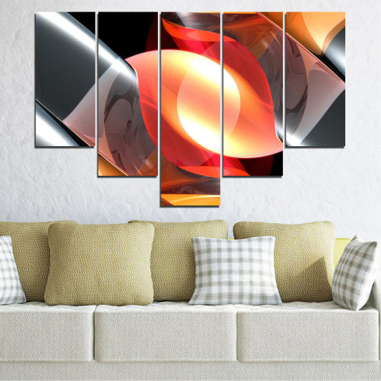 Canvas prints & wall decorative panels - 5 pieces №0314 » Red, Yellow, Black, Gray, Dark grey » Abstraction, Colorful, Shine Form #6