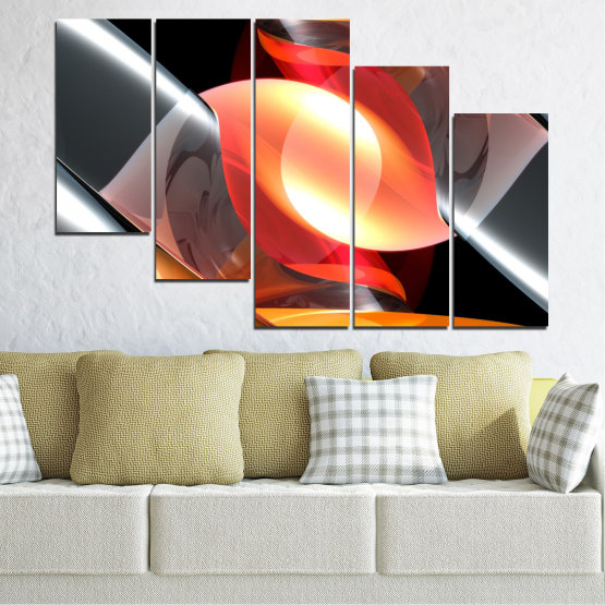Canvas prints & wall decorative panels - 5 pieces №0314 » Red, Yellow, Black, Gray, Dark grey » Abstraction, Colorful, Shine Form #7