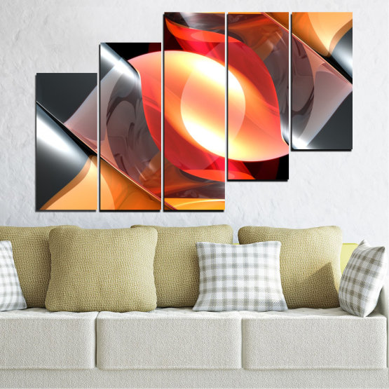 Canvas prints & wall decorative panels - 5 pieces №0314 » Red, Yellow, Black, Gray, Dark grey » Abstraction, Colorful, Shine Form #8