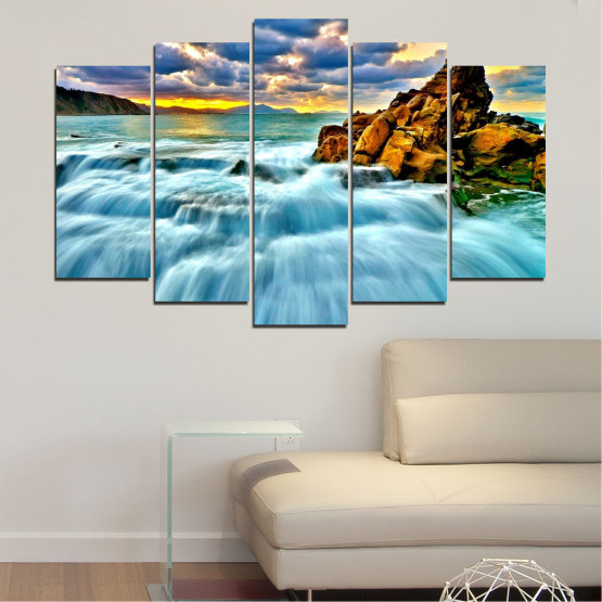 Canvas prints & wall decorative panels - 5 pieces №0315 » Blue, Turquoise, Black, Gray » Landscape, Waterfall, Nature, Sunset, Sky, Rocks, Cloud Form #1