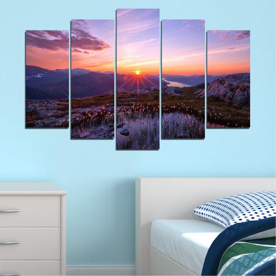Canvas prints & wall decorative panels - 5 pieces №0316 » Purple, Black, Gray, Dark grey » Landscape, Nature, Freshness, Sun, Mountain, Sunrise, Meadow Form #1