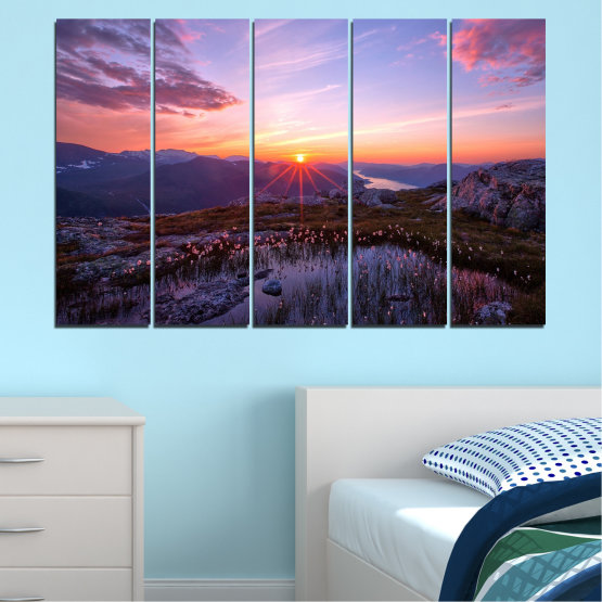Canvas prints & wall decorative panels - 5 pieces №0316 » Purple, Black, Gray, Dark grey » Landscape, Nature, Freshness, Sun, Mountain, Sunrise, Meadow Form #2