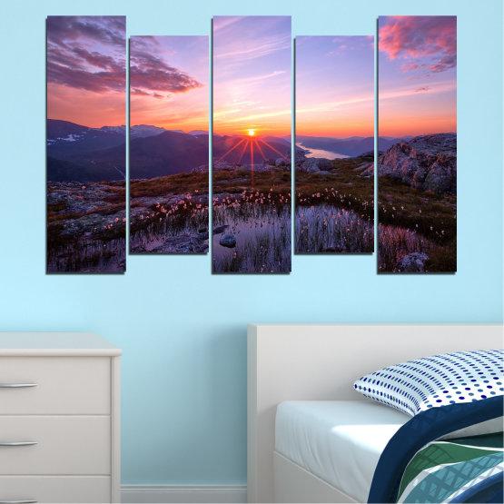 Εκτύπωση σε καμβά και διακοσμητικά πάνελ τοίχου - 5 τεμάχια №0316 » Μωβ, Μαύρος, Γκρί, Σκούρο γκρι » Φύση, Τοπίο, Ήλιος, Βουνό, Φρεσκάδα, Ανατολή ηλίου, Λιβάδι Form #3