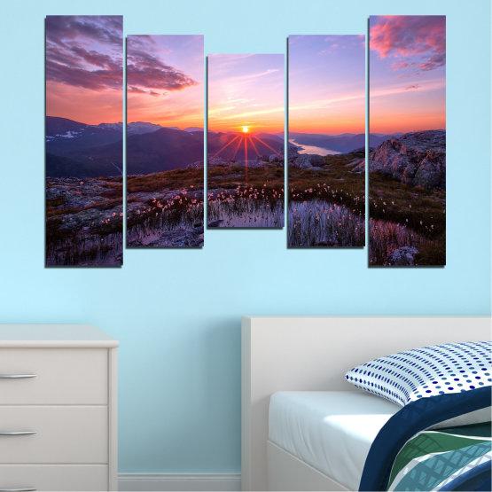Canvas prints & wall decorative panels - 5 pieces №0316 » Purple, Black, Gray, Dark grey » Landscape, Nature, Freshness, Sun, Mountain, Sunrise, Meadow Form #4