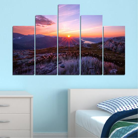 Canvas prints & wall decorative panels - 5 pieces №0316 » Purple, Black, Gray, Dark grey » Landscape, Nature, Freshness, Sun, Mountain, Sunrise, Meadow Form #5