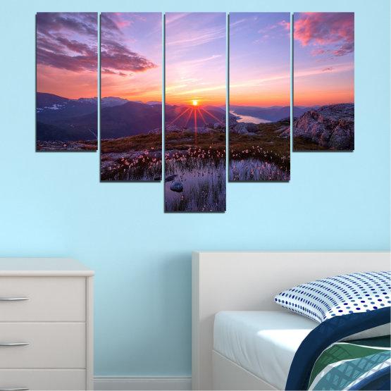 Canvas prints & wall decorative panels - 5 pieces №0316 » Purple, Black, Gray, Dark grey » Landscape, Nature, Freshness, Sun, Mountain, Sunrise, Meadow Form #6