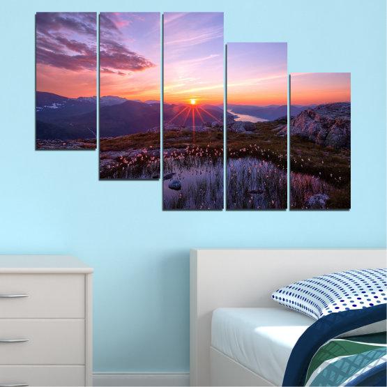 Canvas prints & wall decorative panels - 5 pieces №0316 » Purple, Black, Gray, Dark grey » Landscape, Nature, Freshness, Sun, Mountain, Sunrise, Meadow Form #7