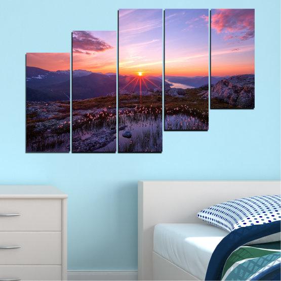 Canvas prints & wall decorative panels - 5 pieces №0316 » Purple, Black, Gray, Dark grey » Landscape, Nature, Freshness, Sun, Mountain, Sunrise, Meadow Form #8