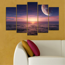 Landscape, Collage, Sea, Water, Sunset, Sky, Moon, Planet » Purple, Brown, Black, Gray, Dark grey