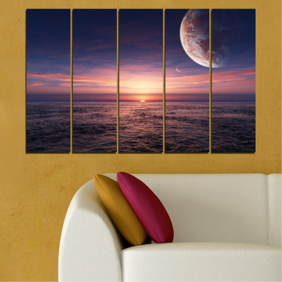 Canvas prints & wall decorative panels - 5 pieces №0318 » Purple, Brown, Black, Gray, Dark grey » Landscape, Sea, Water, Collage, Sunset, Sky, Moon, Planet Form #2