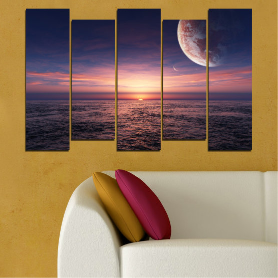 Canvas prints & wall decorative panels - 5 pieces №0318 » Purple, Brown, Black, Gray, Dark grey » Landscape, Sea, Water, Collage, Sunset, Sky, Moon, Planet Form #3