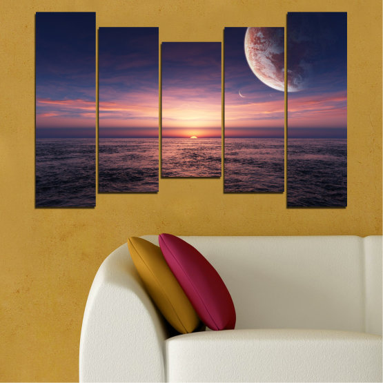 Canvas prints & wall decorative panels - 5 pieces №0318 » Purple, Brown, Black, Gray, Dark grey » Landscape, Sea, Water, Collage, Sunset, Sky, Moon, Planet Form #4