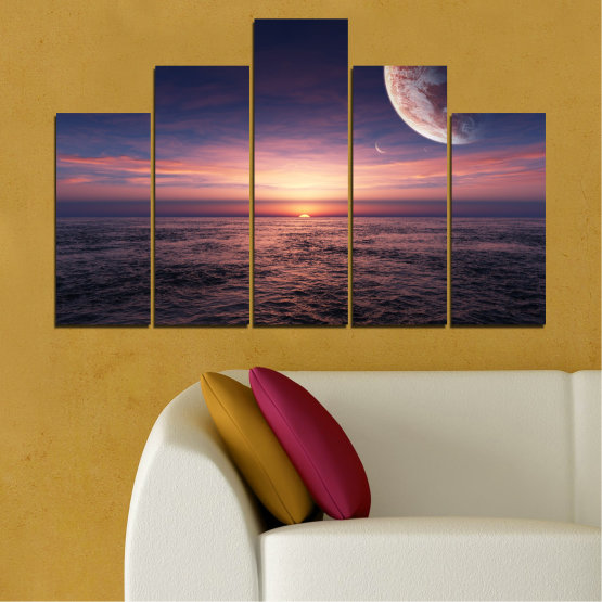 Canvas prints & wall decorative panels - 5 pieces №0318 » Purple, Brown, Black, Gray, Dark grey » Landscape, Sea, Water, Collage, Sunset, Sky, Moon, Planet Form #5