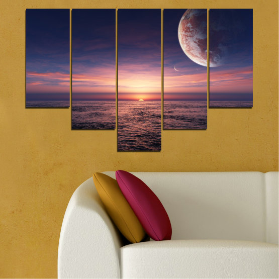 Canvas prints & wall decorative panels - 5 pieces №0318 » Purple, Brown, Black, Gray, Dark grey » Landscape, Sea, Water, Collage, Sunset, Sky, Moon, Planet Form #6