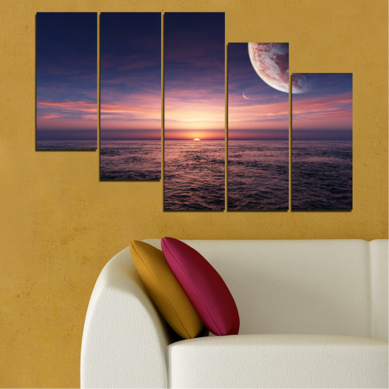 Canvas prints & wall decorative panels - 5 pieces №0318 » Purple, Brown, Black, Gray, Dark grey » Landscape, Sea, Water, Collage, Sunset, Sky, Moon, Planet Form #7