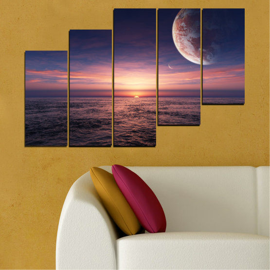 Canvas prints & wall decorative panels - 5 pieces №0318 » Purple, Brown, Black, Gray, Dark grey » Landscape, Sea, Water, Collage, Sunset, Sky, Moon, Planet Form #8
