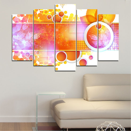 Canvas prints & wall decorative panels - 5 pieces №0319 » Yellow, Orange, White, Beige, Milky pink » Abstraction, Leaf, Sphere Form #1