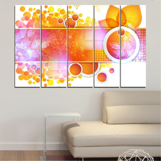 Canvas prints & wall decorative panels - 5 pieces №0319 » Yellow, Orange, White, Beige, Milky pink » Abstraction, Leaf, Sphere Form #2