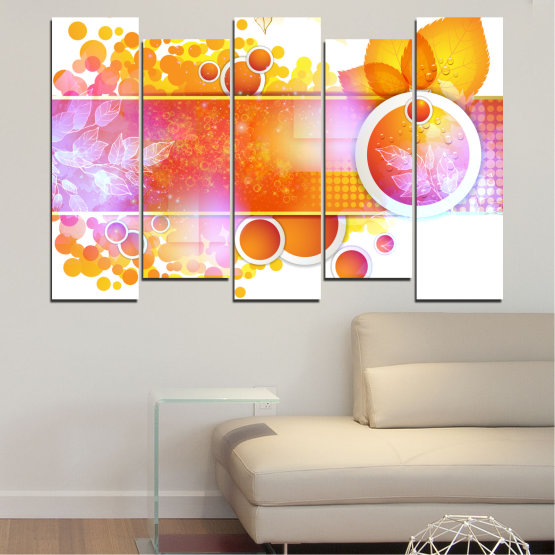 Canvas prints & wall decorative panels - 5 pieces №0319 » Yellow, Orange, White, Beige, Milky pink » Abstraction, Leaf, Sphere Form #3