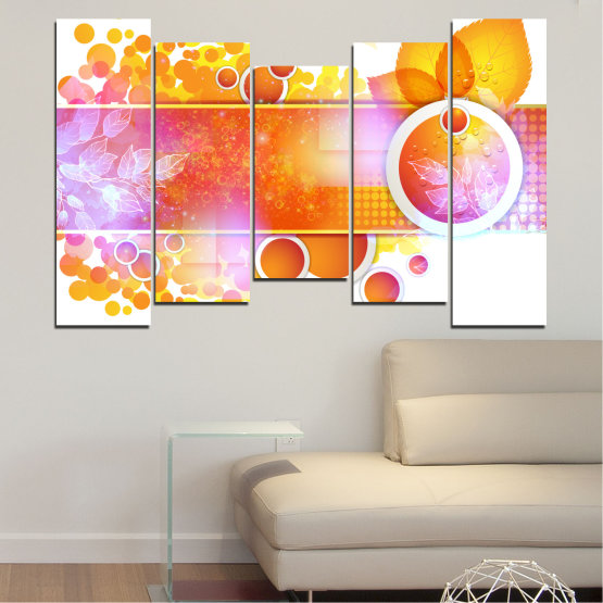 Canvas prints & wall decorative panels - 5 pieces №0319 » Yellow, Orange, White, Beige, Milky pink » Abstraction, Leaf, Sphere Form #4