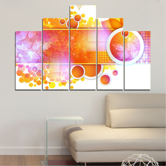 Canvas prints & wall decorative panels - 5 pieces №0319 » Yellow, Orange, White, Beige, Milky pink » Abstraction, Leaf, Sphere Form #5