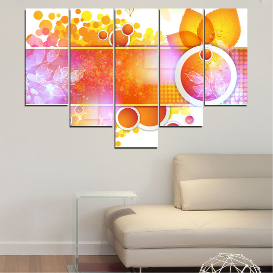 Canvas prints & wall decorative panels - 5 pieces №0319 » Yellow, Orange, White, Beige, Milky pink » Abstraction, Leaf, Sphere Form #6