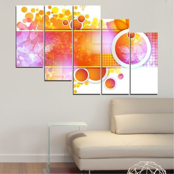 Canvas prints & wall decorative panels - 5 pieces №0319 » Yellow, Orange, White, Beige, Milky pink » Abstraction, Leaf, Sphere Form #7
