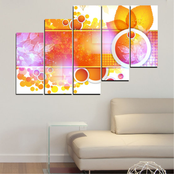 Canvas prints & wall decorative panels - 5 pieces №0319 » Yellow, Orange, White, Beige, Milky pink » Abstraction, Leaf, Sphere Form #8